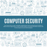 Vector template with hacking and cyber crimes icons. Hacking and cyber crime - horizontal vector template with icons of gadgets and hacker`s activities, title Stock Photos