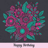 Vector template with hand drawn colorful doodle fancy flowers Stock Image