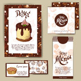 Vector template with hand drawn sketch bakery. Dessert menu design for reataurant or cafe. Cards with sweet bakery illustration. Stock Images
