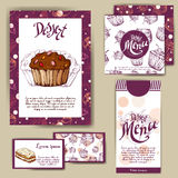 Vector template with hand drawn sketch bakery. Dessert menu design for reataurant or cafe. Cards with sweet bakery illustration. Vector template with hand drawn Stock Image
