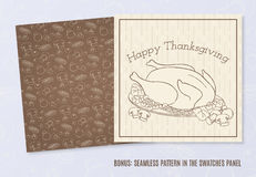 Vector template with hand drawn Thanksgiving elements Stock Image