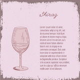Vector template with hand drawn wine glass. Royalty Free Stock Image