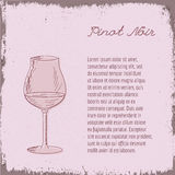 Vector template with hand drawn wine glass. Stock Photography