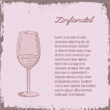 Vector template with hand drawn wine glass. Stock Photo