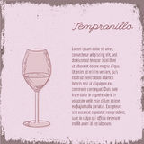 Vector template with hand drawn wine glass. Royalty Free Stock Photo