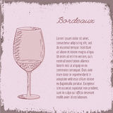 Vector template with hand drawn wine glass. Royalty Free Stock Photography