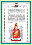 Vector template of heraldic charter. With helmet, crown, shield, decorative antique frame and text space Royalty Free Stock Images