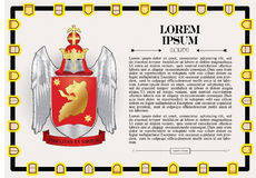 Vector template of heraldic charter with helmet. Crown, shield, decorative antique frame and text space Stock Photo