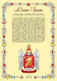 Vector template of heraldic charter with helmet. Crown, shield, decorative antique frame and text space Stock Photos