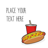 Vector template with hotdog and red soda cup for fast food business. Isometric cartoon style with text stock illustration