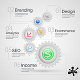 Vector template Infographic  with gear chain Stock Photos