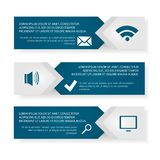 Vector template Infographic. Modern vector template Infographic of the three elements of rectangles with icons and space for text. For web design, business Stock Images
