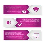 Vector template Infographic. Modern vector template Infographic of the three elements of rectangles with icons and space for text. For web design, business Stock Photography