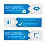 Vector template Infographic. Modern vector template Infographic of the three elements of rectangles with icons and space for text. For web design, business Royalty Free Stock Photos