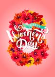 Vector Template Greeting card. March 8 Decor of red spring flowers Calligraphy lettering text International Women`s Day vector illustration