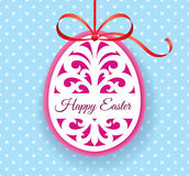 Vector Template for Laser cut Easter egg greeting card, tag, invitation or interior element with floral ornament. Laser cut Easter egg with floral pattern Royalty Free Stock Image