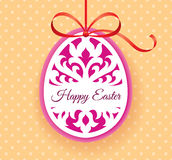 Vector Template for Laser cut Easter egg greeting card, tag, invitation or interior element with floral ornament. Laser cut Easter egg with floral pattern Stock Image