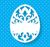 Vector Template for Laser cut Easter egg greeting card, tag, invitation or interior element with floral ornament. Laser cut Easter egg with floral pattern Stock Photos