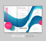 Vector template leaflet design with color lines Royalty Free Stock Images