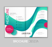 Vector template leaflet design with color lines Royalty Free Stock Photos