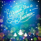 Vector template with lettering We wish You a Merry Christmas. Abstract blur and bokeh colorful background Royalty Free Stock Photos
