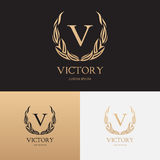 Vector template of logo of boutique brand with floral ornament Royalty Free Stock Images