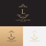 Vector template of logo of luxury brand with floral ornament Royalty Free Stock Photos