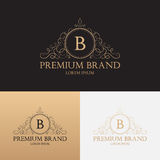 Vector template of logo of premium brand floral ornament Stock Photos