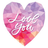 Vector template Love you on heart triangle background Royalty Free Stock Photos