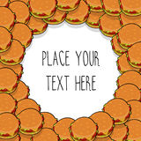 Vector template with many hamburgers for fast food business. Isometric cartoon style with text royalty free illustration