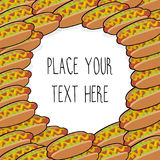Vector template with many hot dogs for fast food business. Isometric cartoon style with text vector illustration