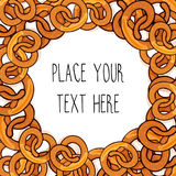 Vector template with many pretzels for fast food business. Cartoon style with text Stock Photos