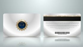 Vector template of membership or loyalty silver metallic VIP card with luxury geometric pattern. Front and back design. Presentation. Premium member, gift stock illustration