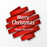 2018 vector template. Merry Christmas and Happy New Year background. 2018 vector template. Merry Christmas and Happy New Year background with red ribbon and royalty free illustration