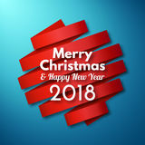 2018 vector template. Merry Christmas and Happy New Year background. 2018 vector template. Merry Christmas and Happy New Year background with red ribbon and vector illustration