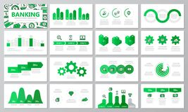 Set of bank and money elements for multipurpose presentation template slides with graphs and charts. Leaflet, corporate. Vector template for multipurpose Stock Images