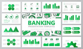 Set of bank and money elements for multipurpose presentation template slides with graphs and charts. Leaflet, corporate. Vector template for multipurpose Royalty Free Stock Images