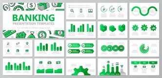 Set of bank and money elements for multipurpose presentation template slides with graphs and charts. Leaflet, corporate. Vector template for multipurpose Royalty Free Stock Photography