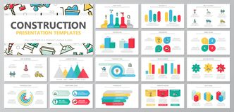 Set of construction and repair elements for multipurpose presentation template slides with graphs and charts. Leaflet. Vector template for multipurpose Stock Image