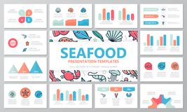Set of fish and sea food elements for multipurpose presentation template slides with graphs and charts. Leaflet. Vector template for multipurpose presentation Stock Photo