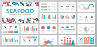 Set of fish and sea food elements for multipurpose presentation template slides with graphs and charts. Leaflet. Vector template for multipurpose presentation Royalty Free Stock Photos
