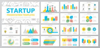 Set of startup and business elements for multipurpose presentation template slides with graphs and charts. Leaflet vector illustration