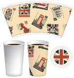 Paper cup for hot drink with postage stamps. Vector template of paper cup for hot drink. Disposable cup for tea or coffee with set of postage stamps on the theme Stock Photos