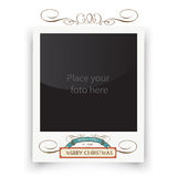 Vector template photo frames Polaroid. Christmas. Greeting with place for your photo. Retro illustration Royalty Free Stock Photography