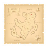 Vector Template of Pirate old Treasure Map. Illustration of Vintage Paper Stylized Manuscript Royalty Free Stock Photos