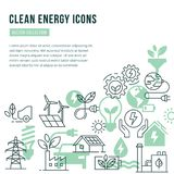 Vector template with place for text and isolated icons set on the theme of green energy vector illustration