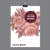 Vector template poster with abstract floral background. Stock Image