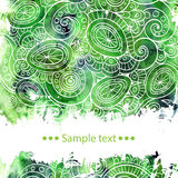 Vector template poster with watercolor paint and Stock Photo