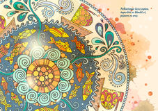 Vector template poster with watercolor paint and ethnic sea mandala. Pattern with decorative ornament, doodle fishes, waves, wind and ships. Abstract aquarelle Royalty Free Stock Photography