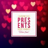 Vector template of present shop advertising. For Valentines day. Paper label on bright bokeh hearts background Royalty Free Stock Image